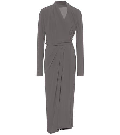 Silk-blend crêpe wrap dress
