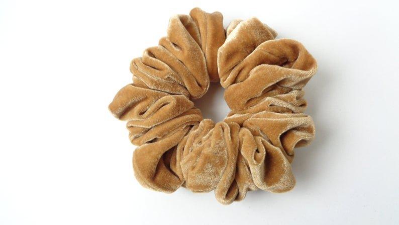 Scrunchies scrunchy scrunchie light brown velvet | Etsy