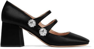 Crystal And Faux Pearl-embellished Satin Pumps - Black