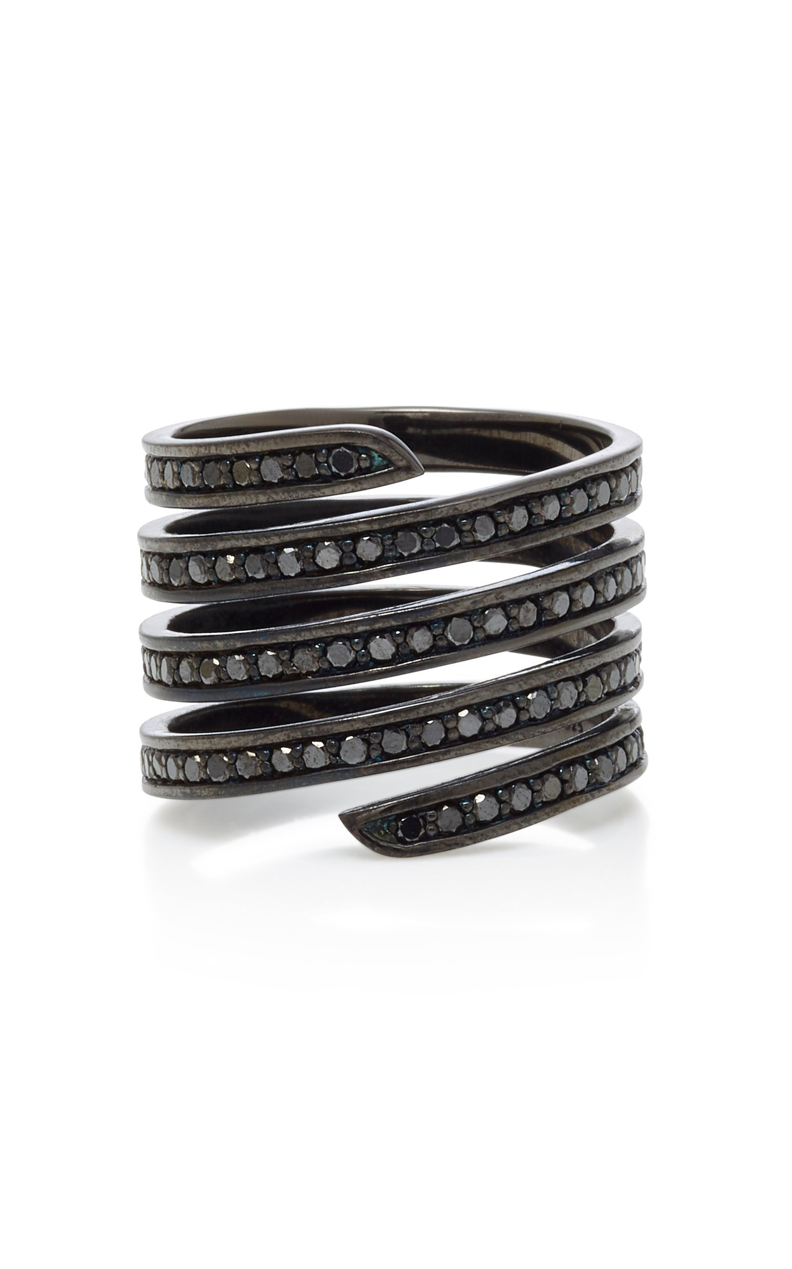 Lynn Ban Jewelry Black Rhodium Silver Diamond Ring