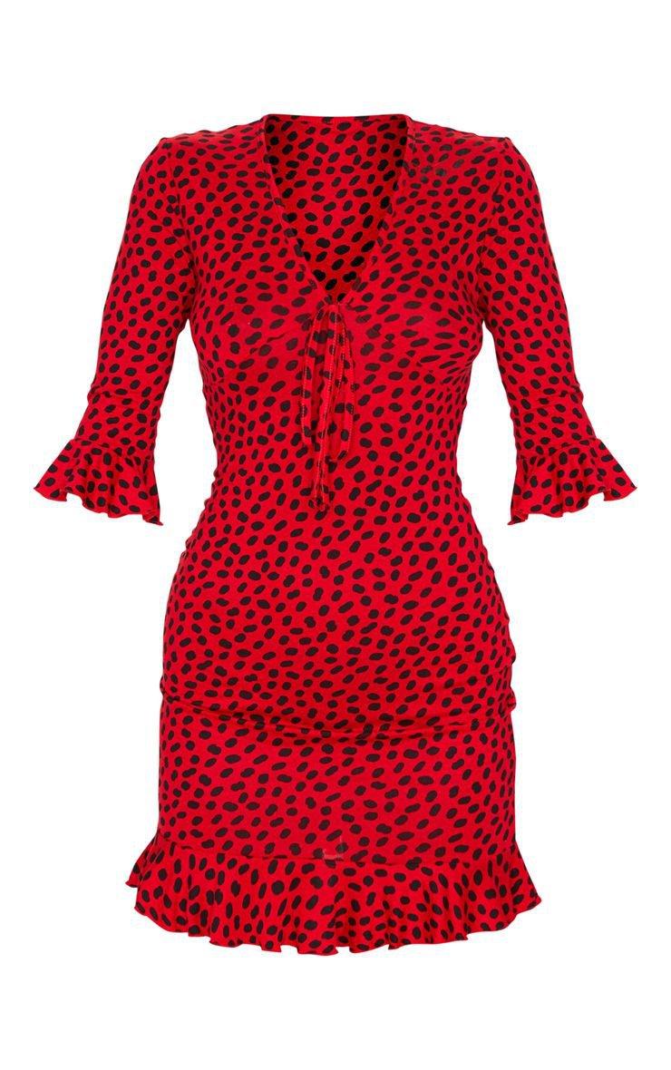 Red Dalmatian Print Tie Frill Hem Bodycon Mini Dress | PrettyLittleThing USA