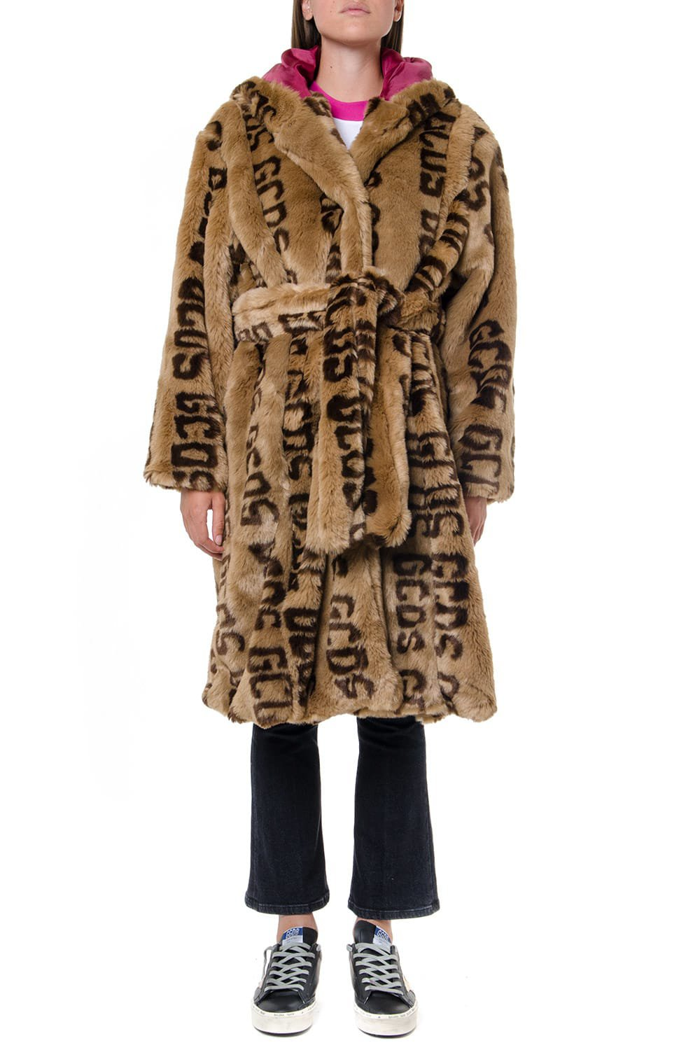 GCDS Brown Faux Fur Logo All Over Coat