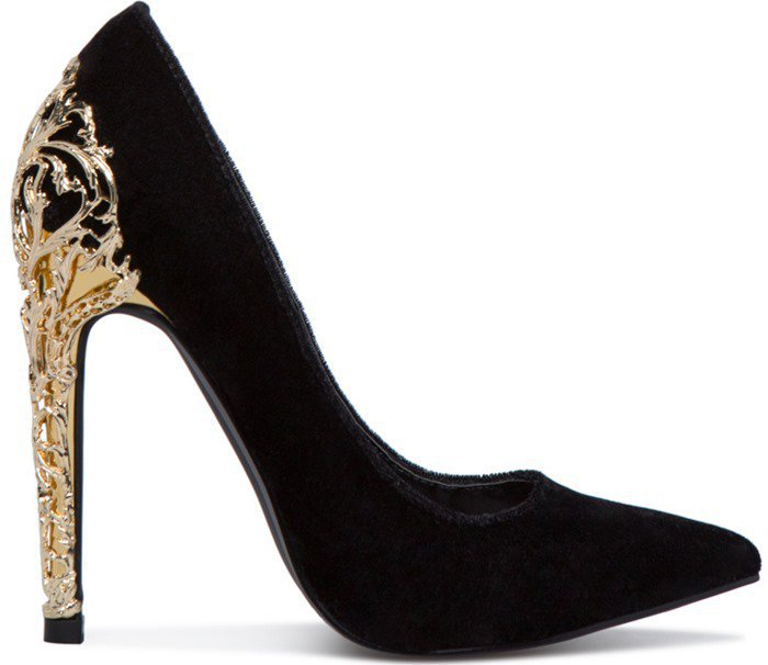 Fairy Tale Pumps With Gold Filigree Heels in Black and Red