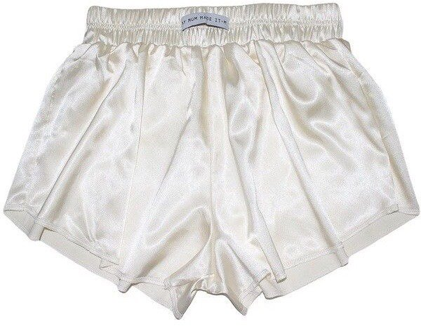 Vintage White High Waist Satin Shorts