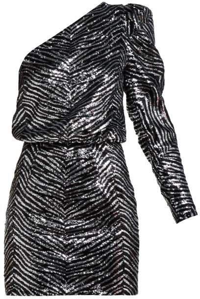 One Shoulder Zebra Sequinned Mini Dress - Womens - Silver