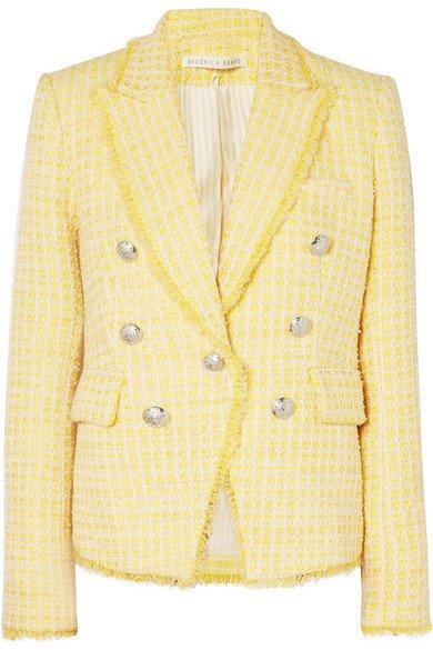 Veronica Beard Dickey double-breasted checked bouclé-tweed blazer
