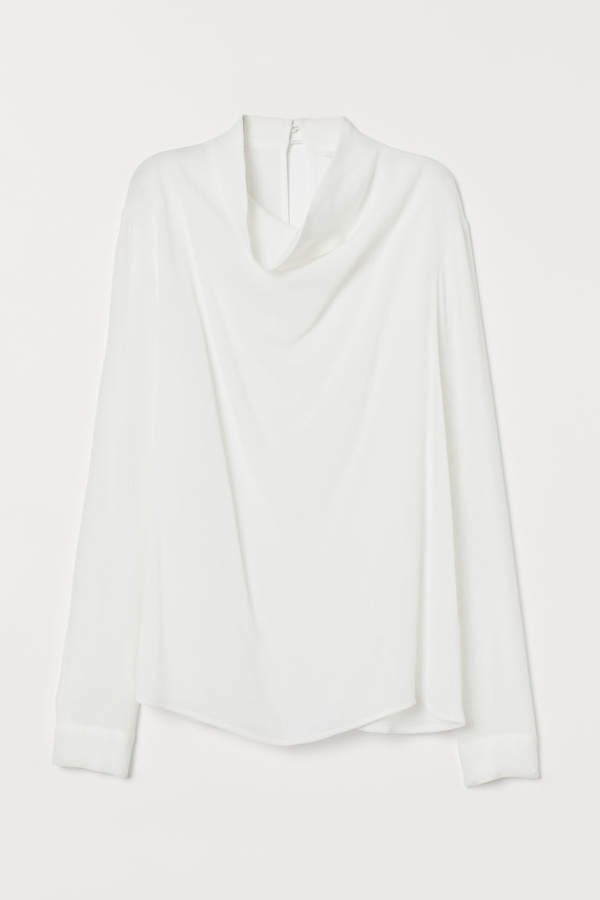 Blouse with Draped Collar - White