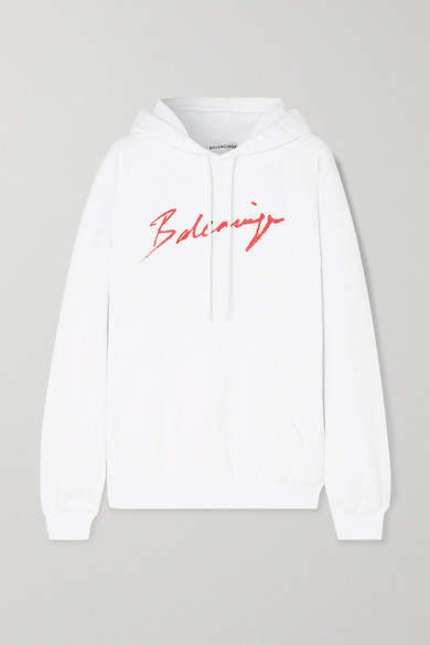Printed Cotton-jersey Hoodie - White