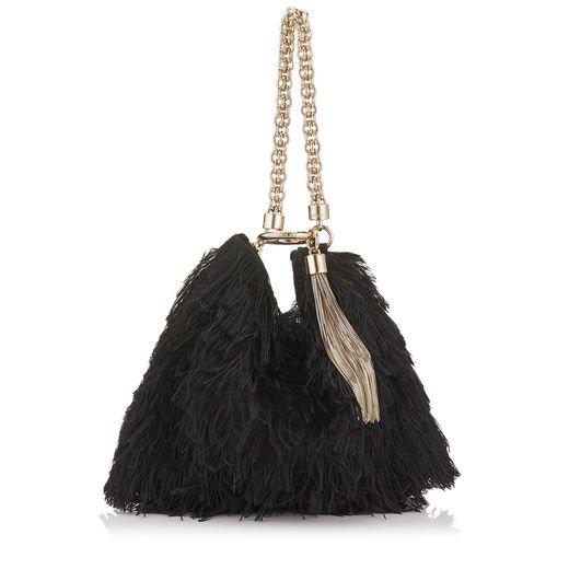 Black Satin Fringes Clutch Bag | CALLIE | Autumn Winter 18 | JIMMY CHOO