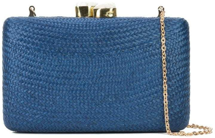 chain strap woven clutch bag