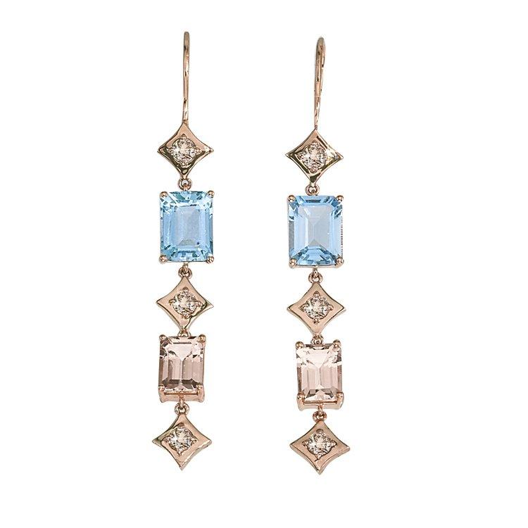 Regalo Duster Earrings in 14k Rose Gold with Champagne Diamonds, Aquamarine & Morganite by GiGi Ferranti