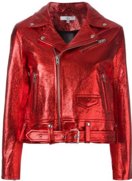 Iro metallic red leather jacket