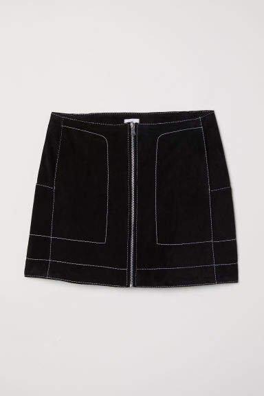Short Suede Skirt - Black