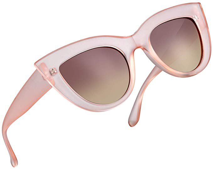 Amazon.com: Retro Cat Eye Polarized Sunglasses Women Vintage CatEye Sun Glasses UV400 Shades (Pink Frame Tea Lens): Clothing