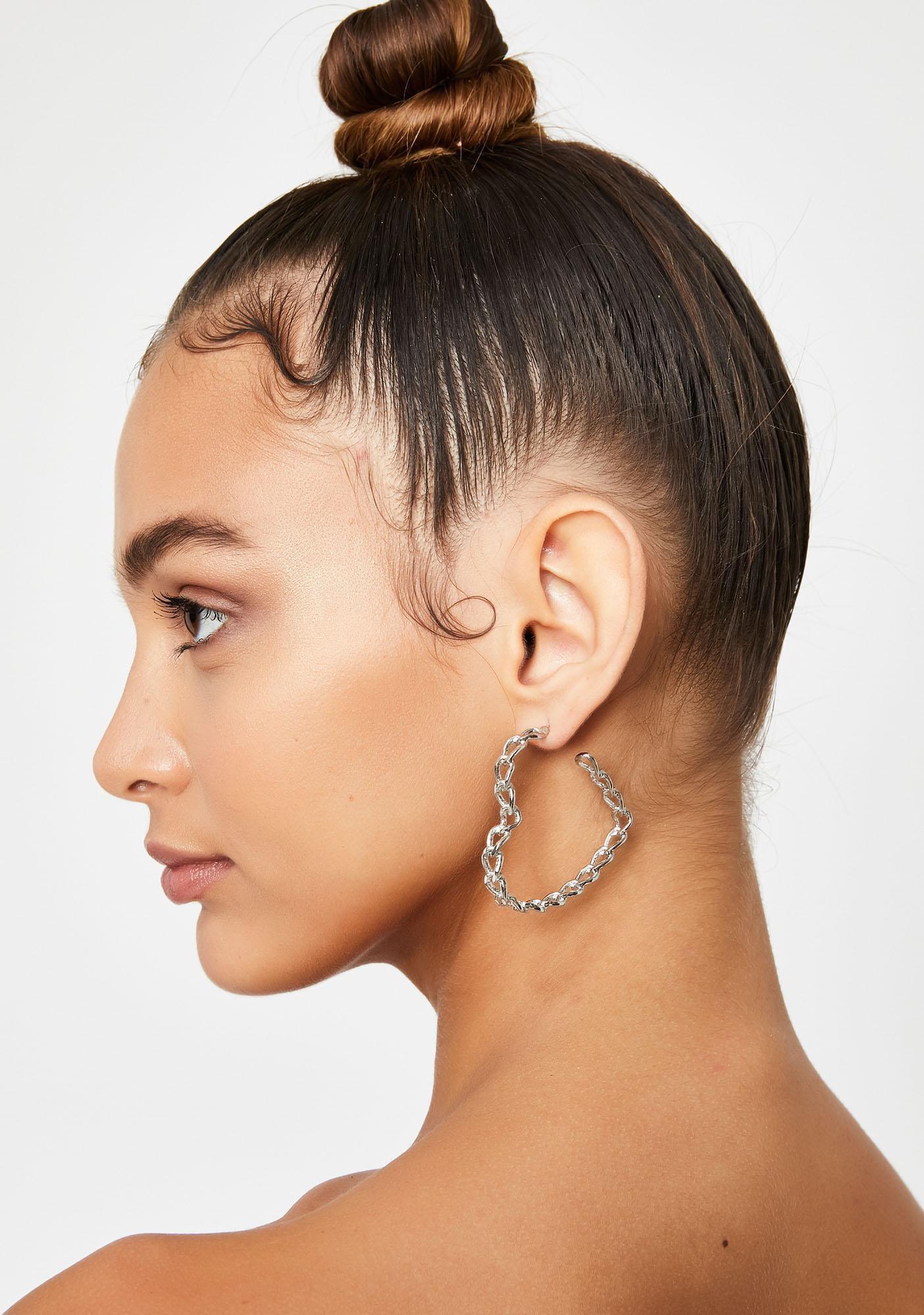 Chain Hoop Earrings Heart | Dolls Kill