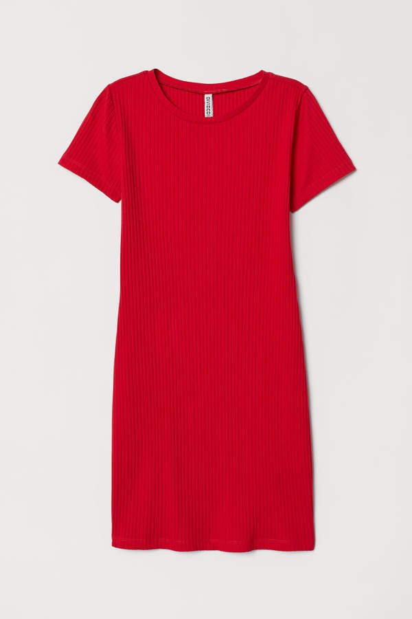 Ribbed Jersey Dress - Red