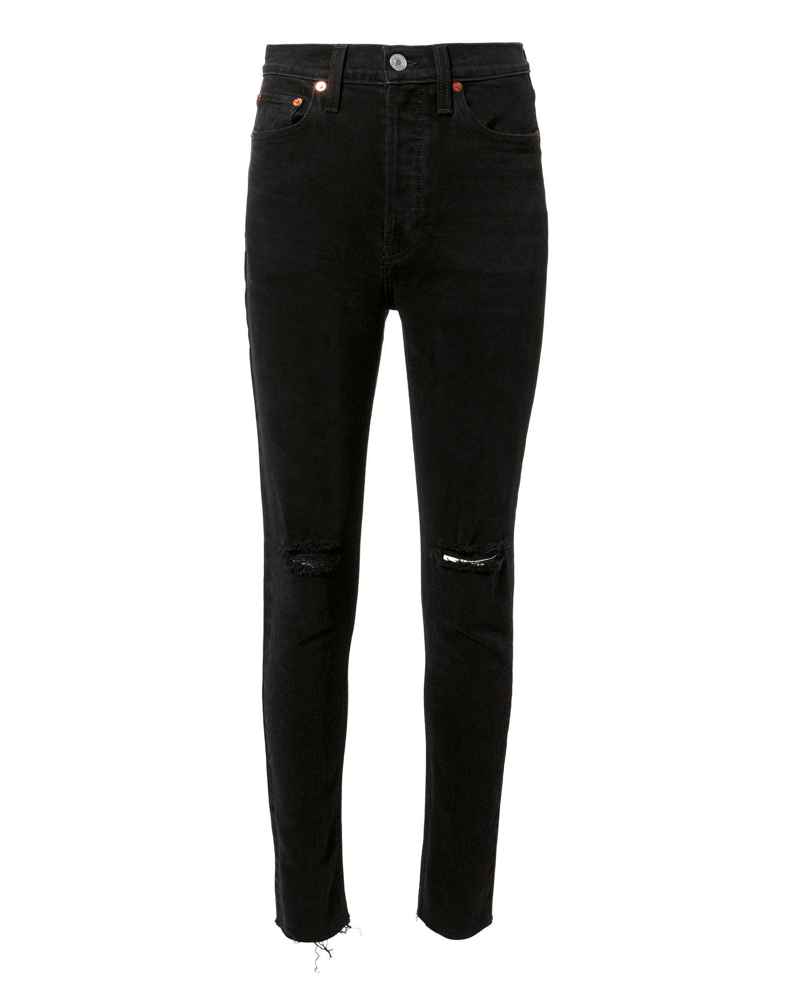 High-Rise Black Destroyed Crop Jeans