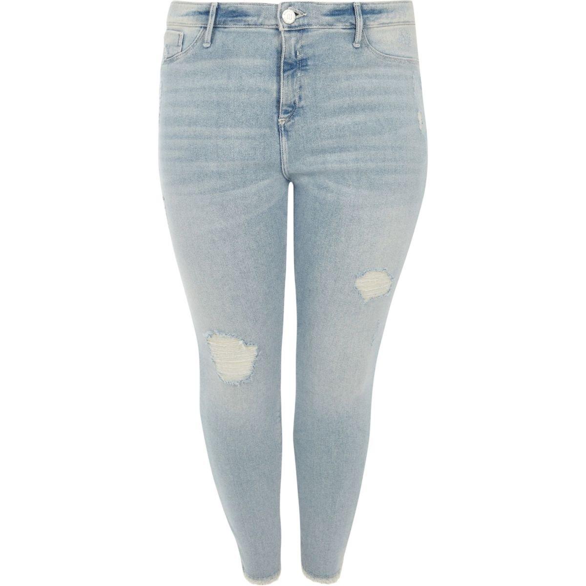 Plus light blue Molly skinny ripped jeggings - Jeggings - Jeans - women