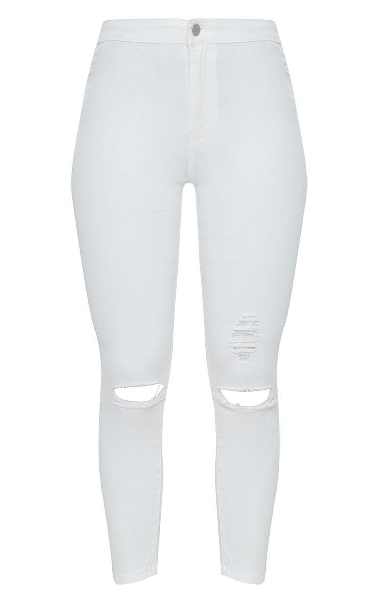 White Distressed Knee 5 Pocket Skinny Jean   PrettyLittleThing