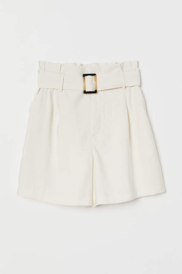 Paper-bag Shorts - White