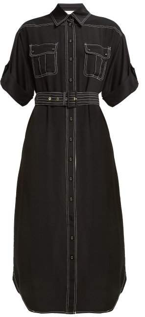 Contrast Stitch Utility Silk Midi Dress - Womens - Black
