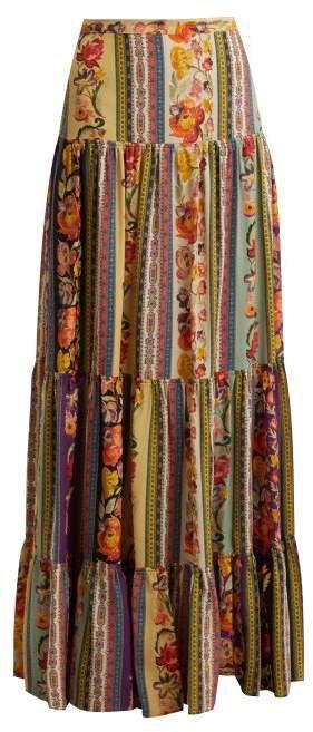 Midburn Tiered Silk Crepe Maxi Skirt - Womens - Pink Multi