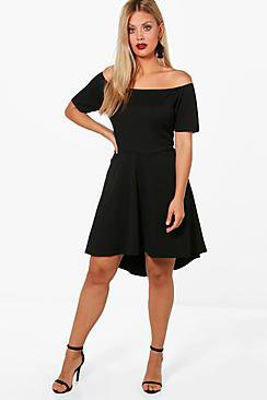 Plus Off Shoulder Dipped Hem Skater Dress