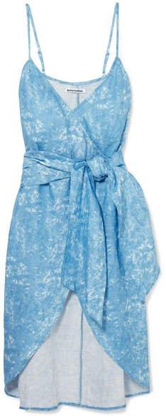 Court Asymmetric Printed Linen Wrap Dress - Blue