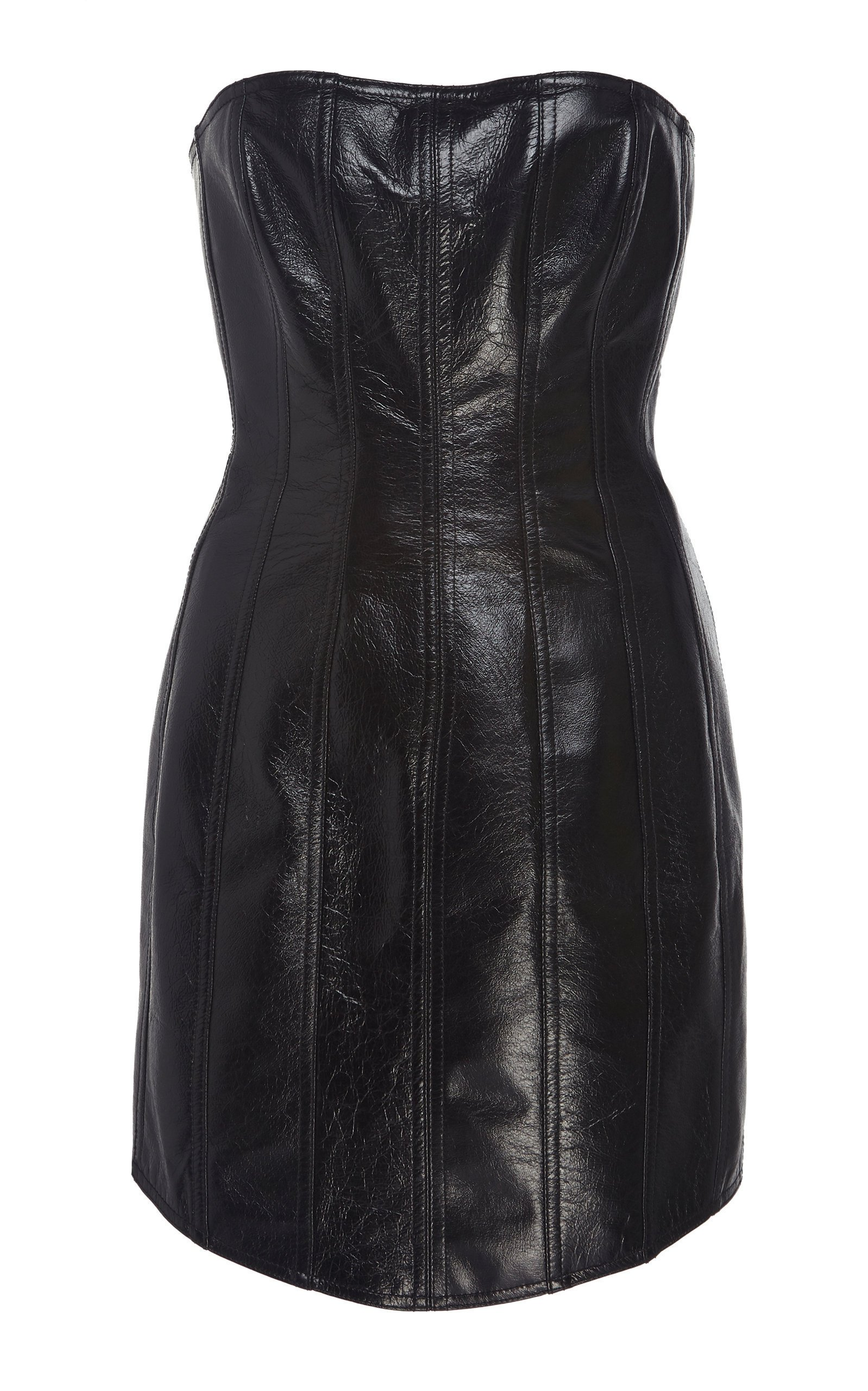 David Koma Corset Leather Strapless Dress