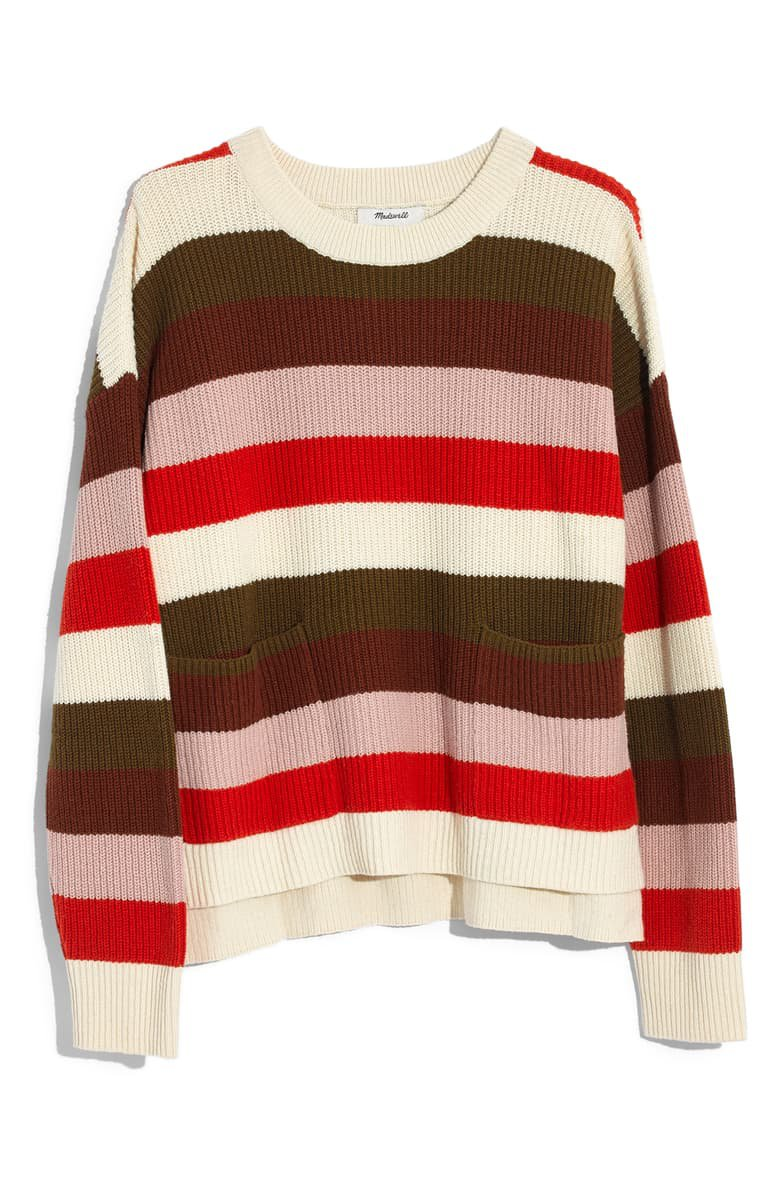 Madewell Patch Pocket Pullover Sweater brown red