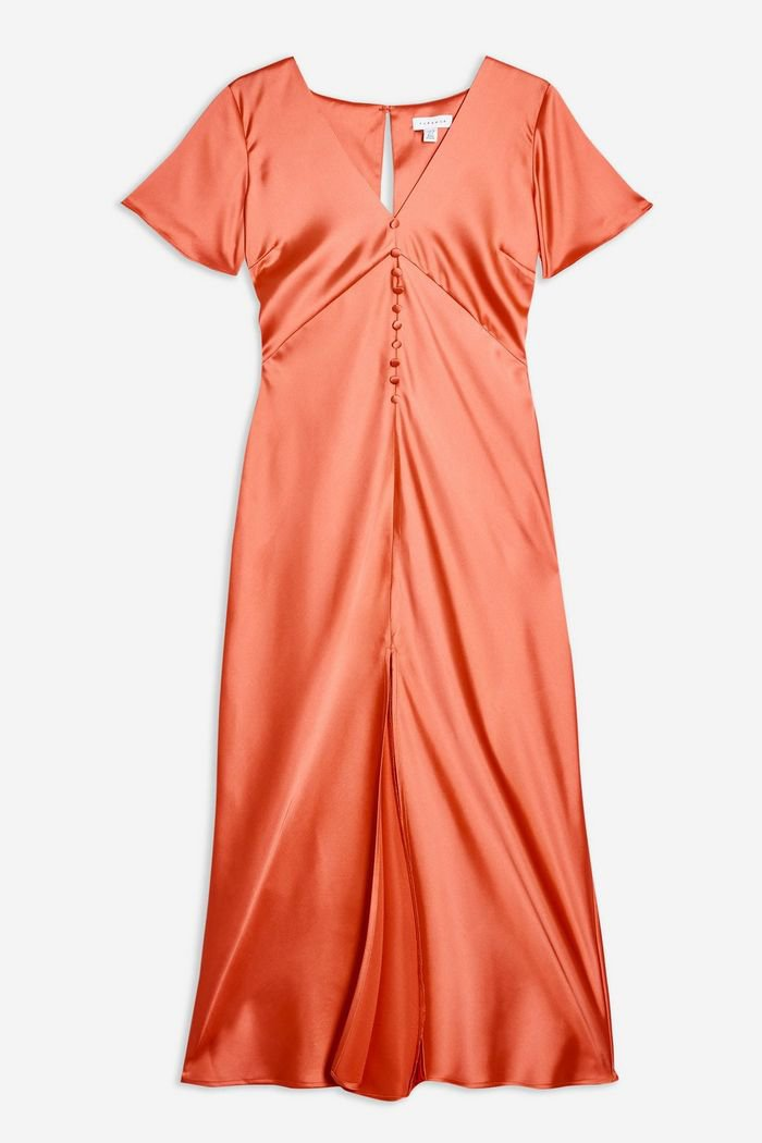 Satin Angel Sleeve Dress | Topshop orange