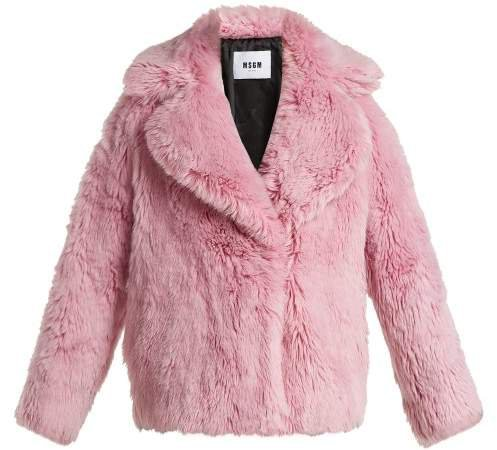 Cropped Faux Fur Jacket - Womens - Light Pink