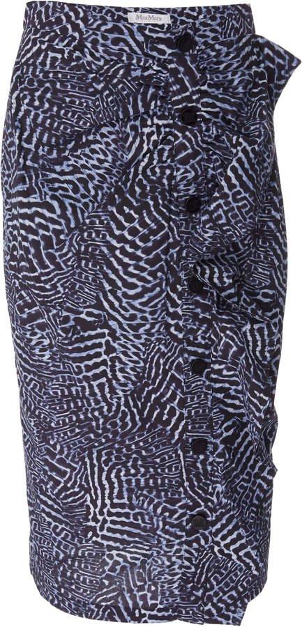 High-Waisted Ruffle Cotton-Blend Midi Skirt