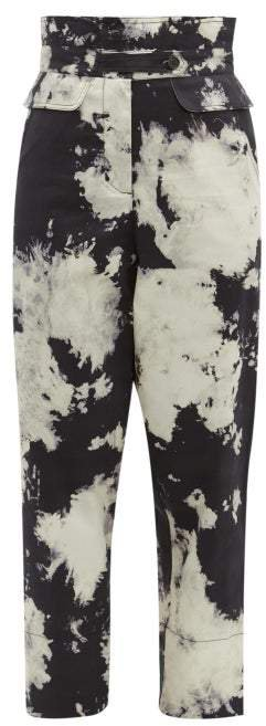 Ione Tie Dye High Rise Twill Trousers - Womens - Black White