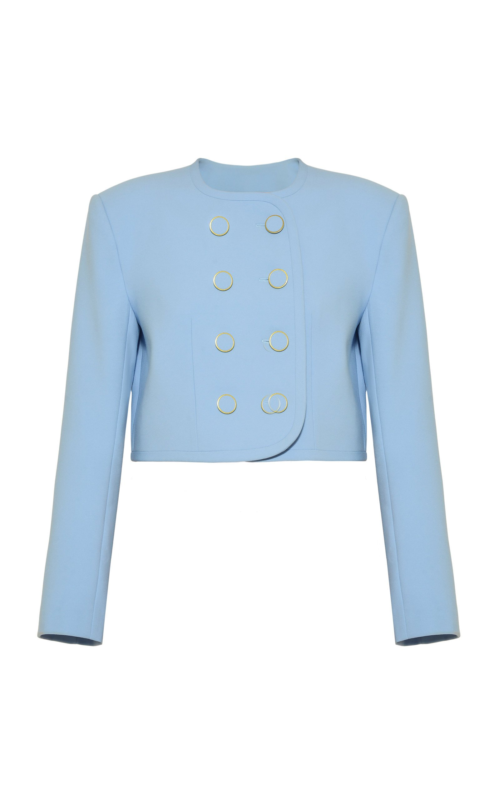 George Keburia Double-Breasted Cropped Cady Blazer Size: S
