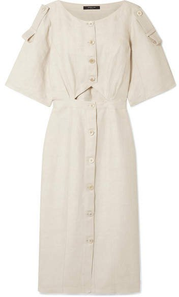 Cutout Linen-blend Midi Dress - Ivory
