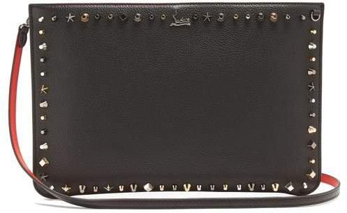 Loubi Stud Embellished Leather Clutch - Womens - Black Multi