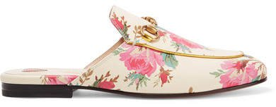 Princetown Horsebit-detailed Printed Leather Slippers - Cream