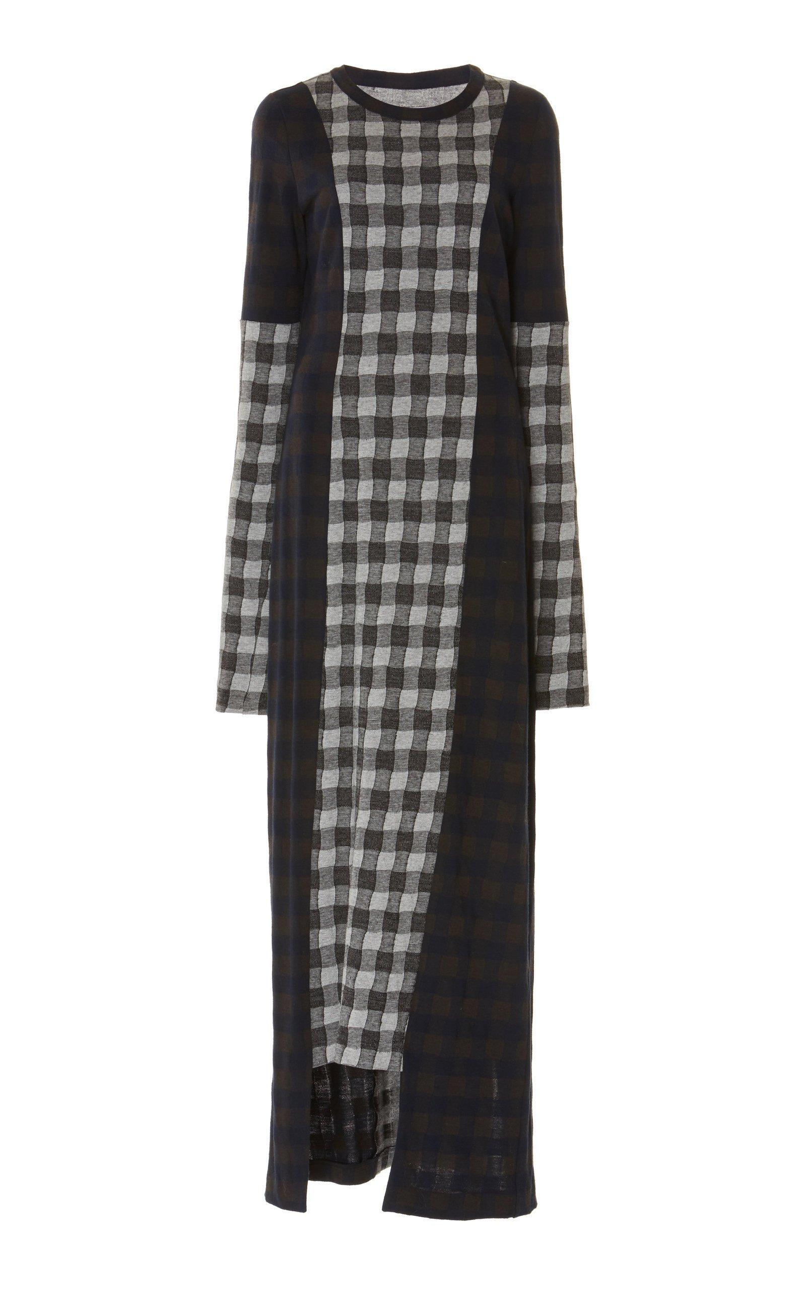 Maison Margiela Grid-Paneled Jersey Maxi Dress