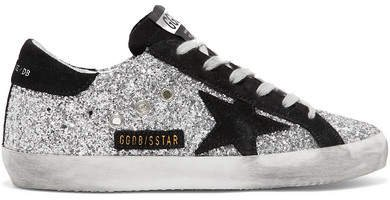 Superstar Glittered Leather And Suede Sneakers - Silver