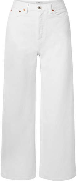 60s Extreme Cropped High-rise Wide-leg Jeans - White