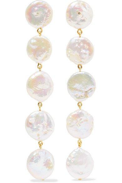 Chan Luu | Gold-plated pearl earrings | NET-A-PORTER.COM