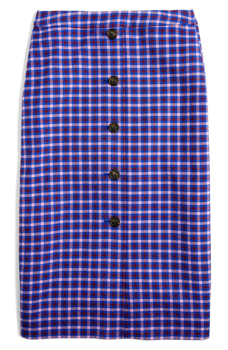 J.Crew Plaid Button Front Pencil Skirt blue plaid