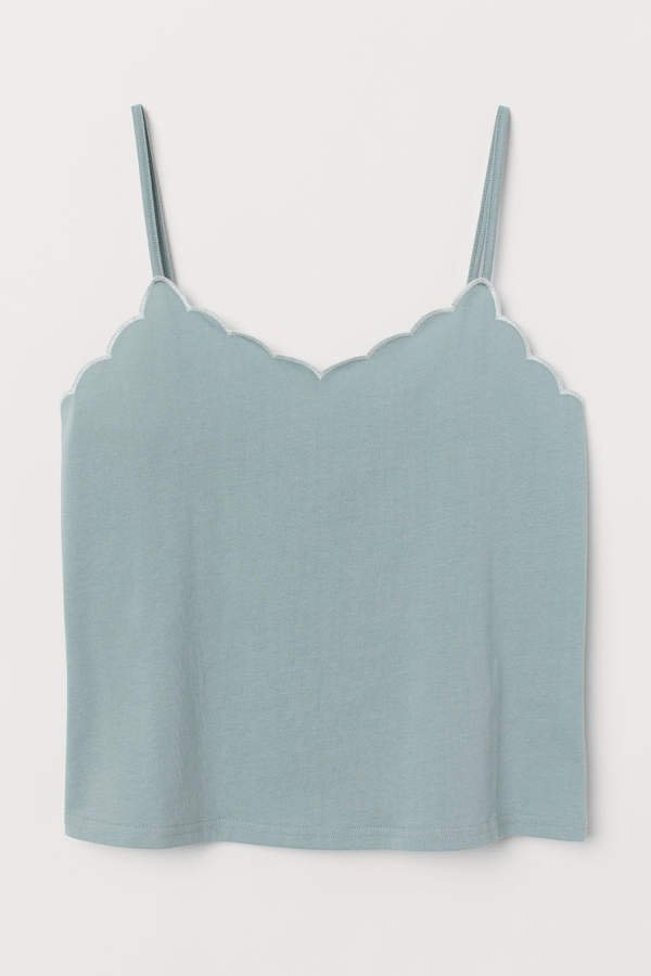 Scalloped-edge Camisole Top - Turquoise