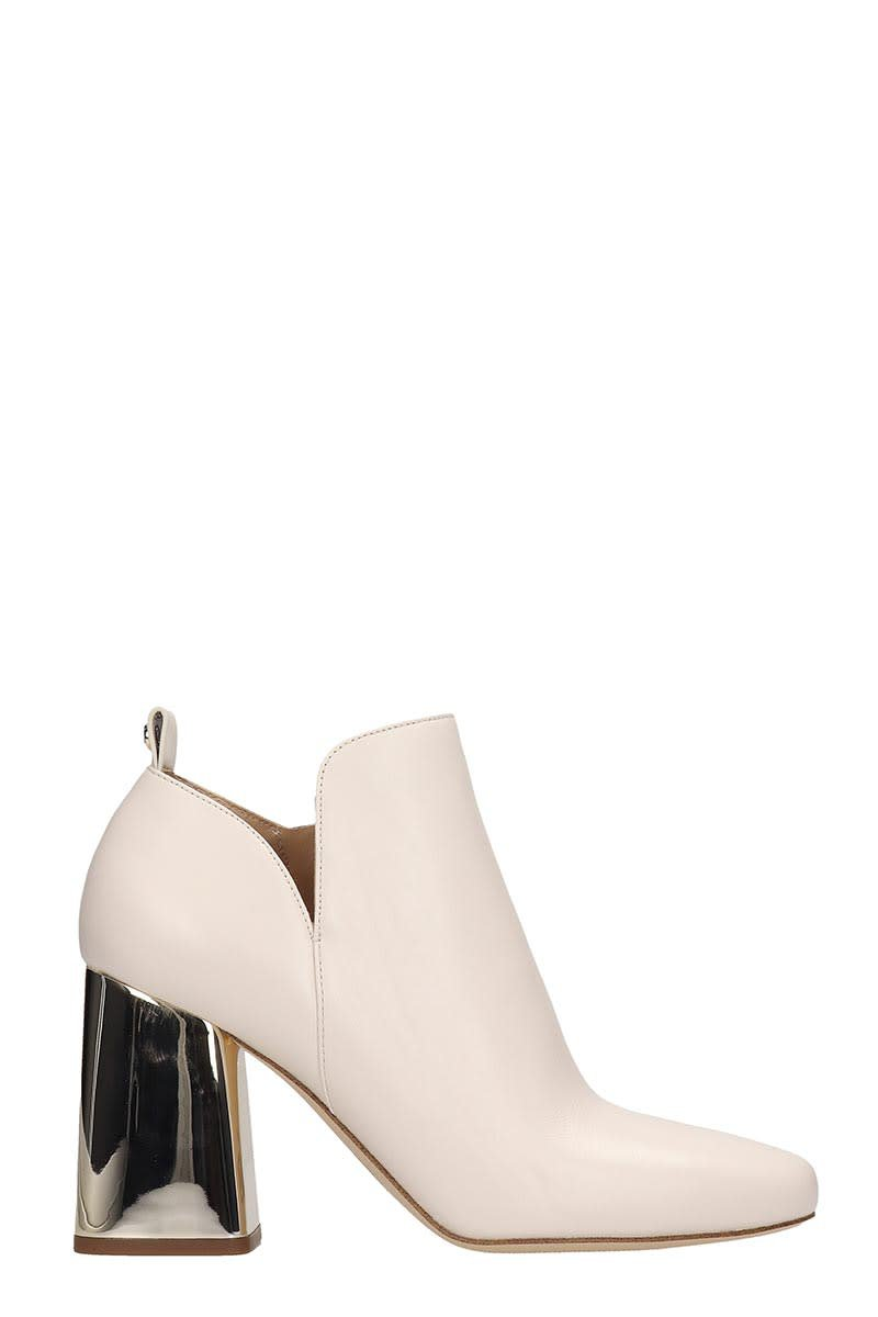 Michael Kors Dixon Ankle Boots In Beige Leather