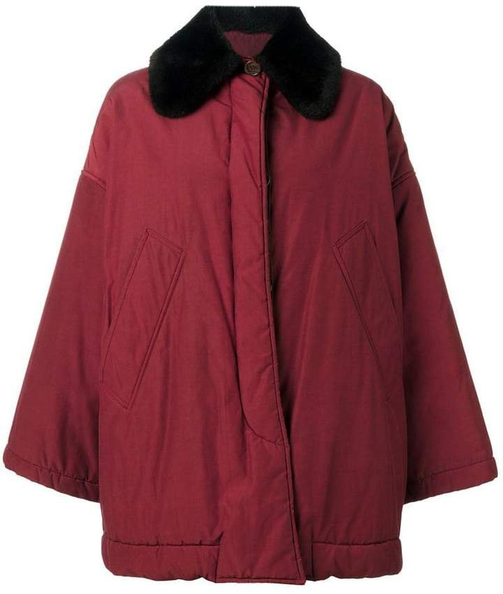 Pre-Owned contrast collar coat