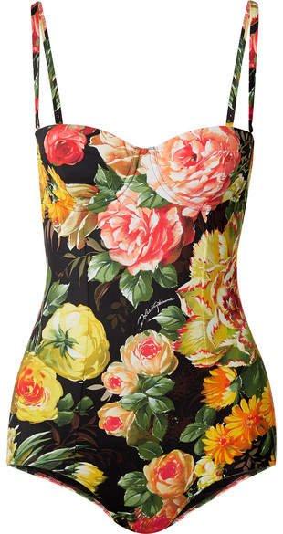 Cutout Floral-print Swimsuit - Black