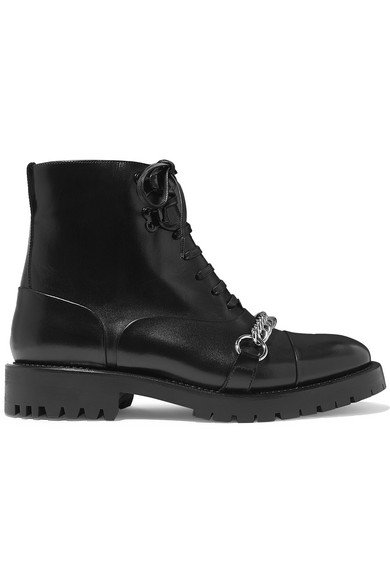 Burberry   Barke chain-trimmed leather ankle boots   NET-A-PORTER.COM