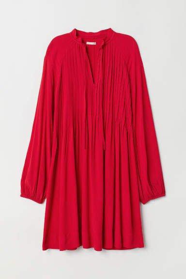 Viscose Dress with Pin-tucks - Red