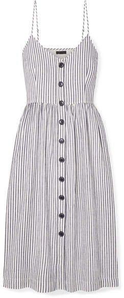 Striped Cotton And Linen-blend Midi Dress - White